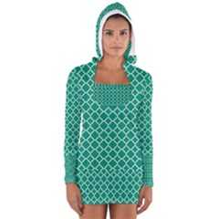 Emerald green quatrefoil pattern Women s Long Sleeve Hooded T-shirt