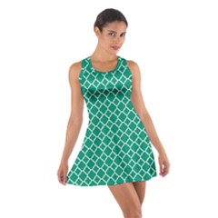 Emerald green quatrefoil pattern Cotton Racerback Dress