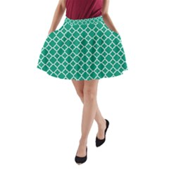 Emerald Green Quatrefoil Pattern A Line Pocket Skirt