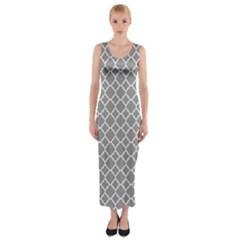 Grey Quatrefoil Pattern Fitted Maxi Dress