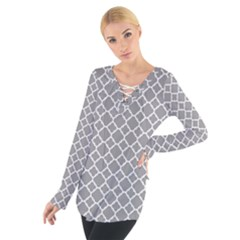 Grey Quatrefoil Pattern Women s Tie Up Tee