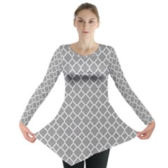 Grey Quatrefoil Pattern Long Sleeve Tunic