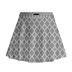 Grey Quatrefoil Pattern Mini Flare Skirt