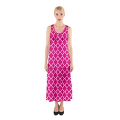 Hot Pink Quatrefoil Pattern Sleeveless Maxi Dress