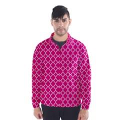 Hot Pink Quatrefoil Pattern Wind Breaker (men)
