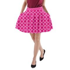 Hot pink quatrefoil pattern A-Line Pocket Skirt