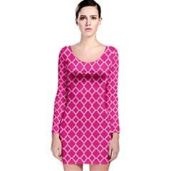 Hot Pink Quatrefoil Pattern Long Sleeve Velvet Bodycon Dress