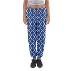 Navy blue quatrefoil pattern Women s Jogger Sweatpants