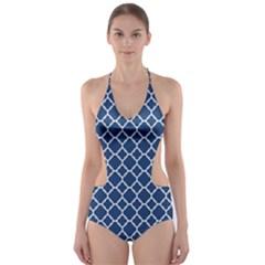 Navy blue quatrefoil pattern Cut-Out One Piece Swimsuit