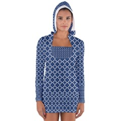 Navy blue quatrefoil pattern Women s Long Sleeve Hooded T-shirt