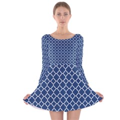 Navy Blue Quatrefoil Pattern Long Sleeve Velvet Skater Dress