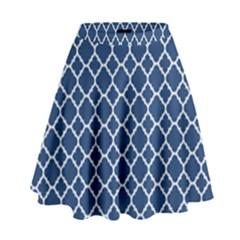 Navy blue quatrefoil pattern High Waist Skirt