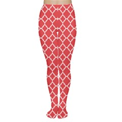 Red White Quatrefoil Classic Pattern Women s Tights