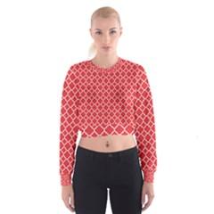 Poppy Red Quatrefoil Pattern Women s Cropped Sweatshirt