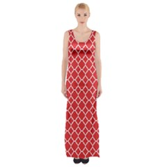 Poppy Red Quatrefoil Pattern Maxi Thigh Split Dress