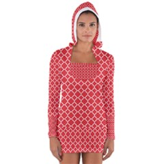 Red White Quatrefoil Classic Pattern Women s Long Sleeve Hooded T Shirt