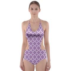 Purple Lilac White Quatrefoil Classic Pattern Cut Out One Piece Swimsuit