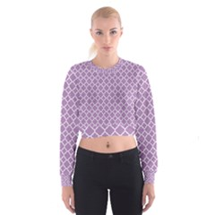 Lilac Purple Quatrefoil Pattern Women s Cropped Sweatshirt