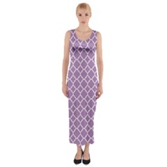 Lilac Purple Quatrefoil Pattern Fitted Maxi Dress