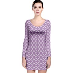 Lilac Purple Quatrefoil Pattern Long Sleeve Velvet Bodycon Dress