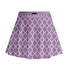 Lilac Purple Quatrefoil Pattern Mini Flare Skirt