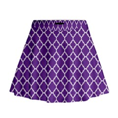 Royal Purple Quatrefoil Pattern Mini Flare Skirt