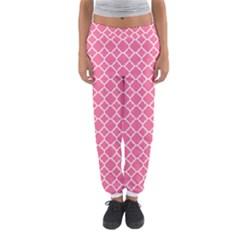 Soft Pink Quatrefoil Pattern Women s Jogger Sweatpants