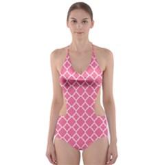 Soft Pink Quatrefoil Pattern Cut-Out One Piece Swimsuit