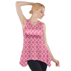 Soft Pink Quatrefoil Pattern Side Drop Tank Tunic