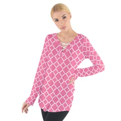 Soft Pink Quatrefoil Pattern Women s Tie Up Tee