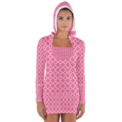Soft Pink Quatrefoil Pattern Women s Long Sleeve Hooded T-shirt
