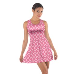 Soft Pink Quatrefoil Pattern Cotton Racerback Dress