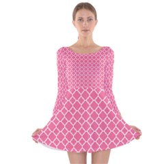 Soft Pink Quatrefoil Pattern Long Sleeve Velvet Skater Dress