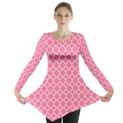Soft Pink Quatrefoil Pattern Long Sleeve Tunic