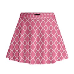 Soft Pink Quatrefoil Pattern Mini Flare Skirt
