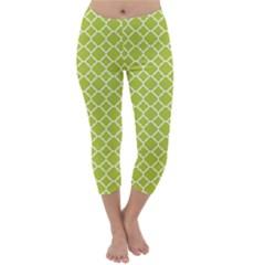 Spring Green Quatrefoil Pattern Capri Winter Leggings