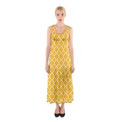 Sunny Yellow Quatrefoil Pattern Sleeveless Maxi Dress