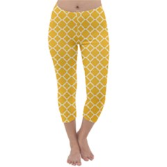 Sunny yellow quatrefoil pattern Capri Winter Leggings
