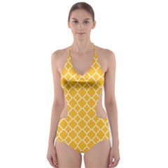 Sunny yellow quatrefoil pattern Cut-Out One Piece Swimsuit