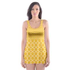 Sunny yellow quatrefoil pattern Skater Dress Swimsuit