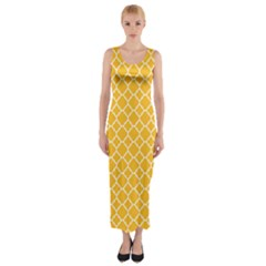 Sunny yellow quatrefoil pattern Fitted Maxi Dress