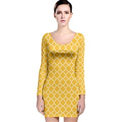 Sunny yellow quatrefoil pattern Long Sleeve Velvet Bodycon Dress