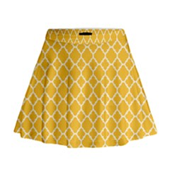 Sunny yellow quatrefoil pattern Mini Flare Skirt