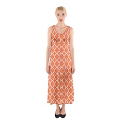 Tangerine Orange Quatrefoil Pattern Sleeveless Maxi Dress