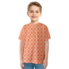 Tangerine Orange Quatrefoil Pattern Kid s Sport Mesh Tee