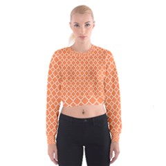 Tangerine orange quatrefoil pattern Women s Cropped Sweatshirt
