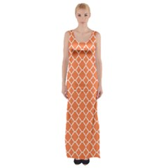 Tangerine orange quatrefoil pattern Maxi Thigh Split Dress