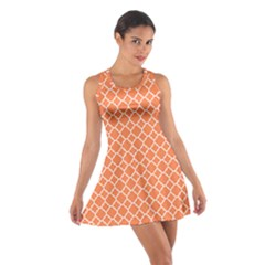 Tangerine Orange Quatrefoil Pattern Cotton Racerback Dress