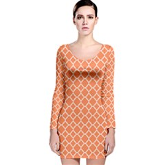 Tangerine orange quatrefoil pattern Long Sleeve Velvet Bodycon Dress