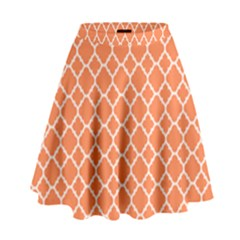 Tangerine orange quatrefoil pattern High Waist Skirt
